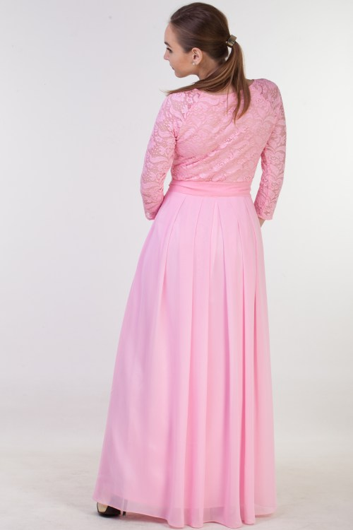 Back of Lindsay Pink Lace Modest Prom Dress