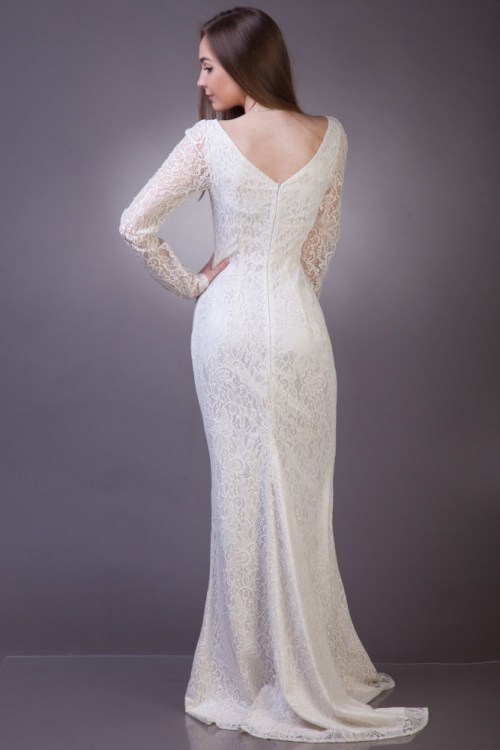 Backview Sideview Angelica Modest Wedding Dress Sleeves