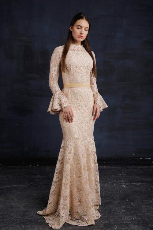 Beige Lace Bell Sleeve Modest Prom Dress Fitted Skirt