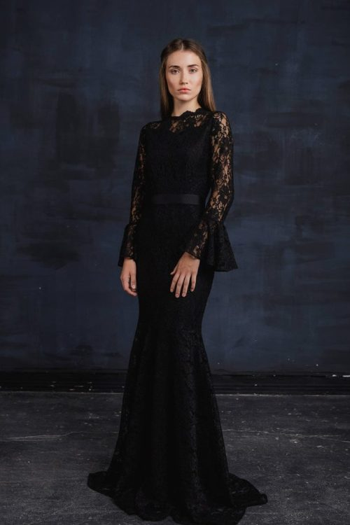 Black Lace Bell Sleeve Modest Prom Dress Fitted Skirt