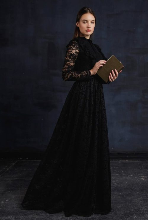 Black Lace Modest Prom Dress Long Sleeves Book