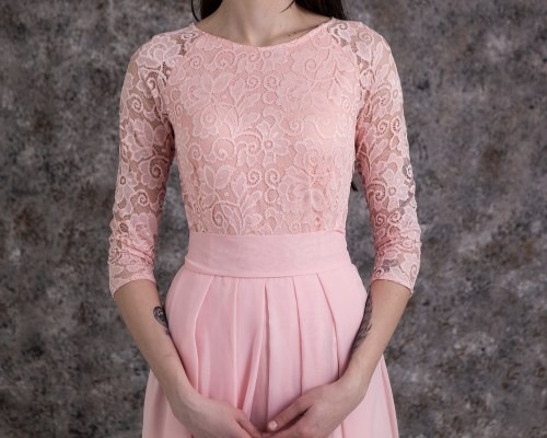Close Up Dawn Blush Pink Lace Modest Prom Dress Sleeves