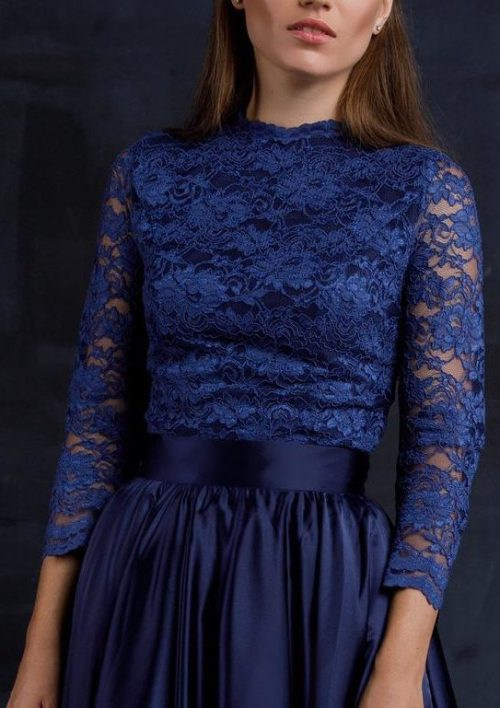 Close Up Two Piece Navy Blue Lace Silk Modest Prom Dress