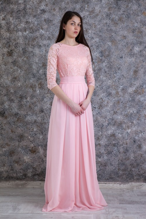Dawn Blush Pink Lace Modest Prom Dress Sleeves
