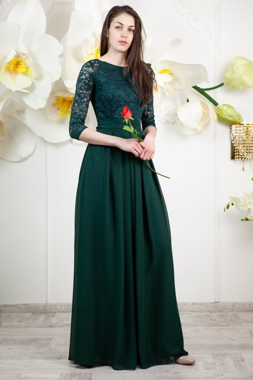 Felicity Dark Green Lace Modest Prom Dress Sleeves