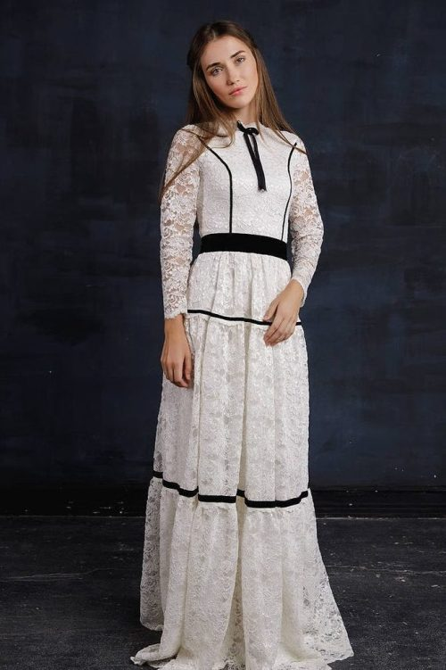 Front Back White Black Flowing Lace Modest Wedding Dress