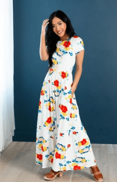 Modest Pop Floral Maxi Dress