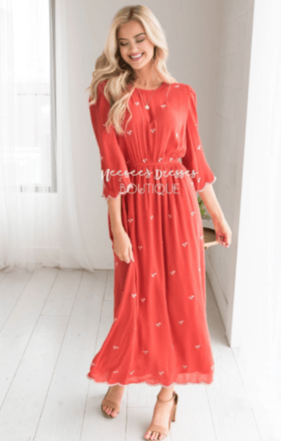 Neesee's Fun and Flirty Modest Dress in Rustin