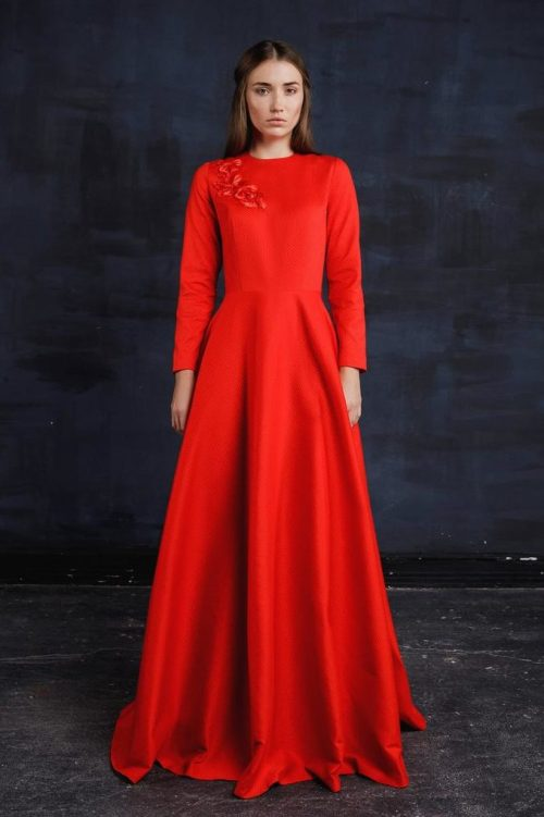 Red Embroidery Tznius Modest Prom Dress