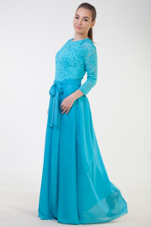 Side View Athena Turquoise Lace Modest Prom Dress Sleeves