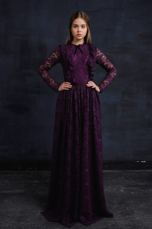 Violet Lace Modest Prom Dress Long Sleeves