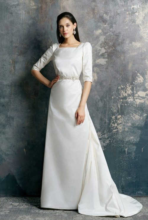 1940's Vintage Inspired Silk Modest Wedding Dress Train