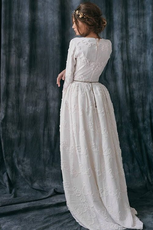 Back Boho Ivory Linen Tznius Modest Wedding Dress