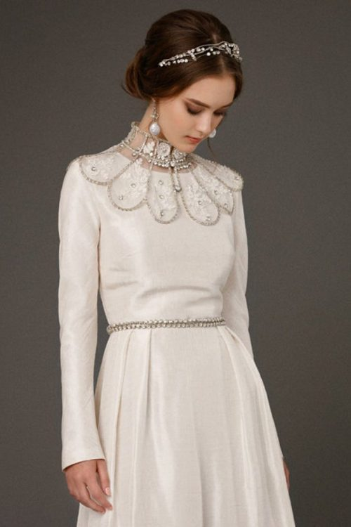 Back Detailing Ivory Silk Tznius Modest Wedding Dress Beaded Collar