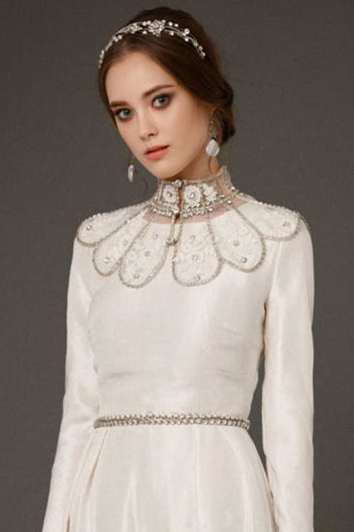 Front of Handmade Lace Crystal Bridal Collar