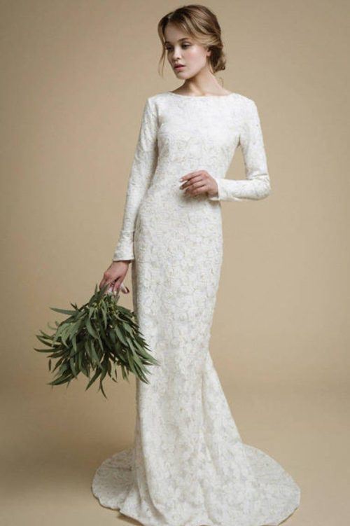 Ivory Mermaid Tznius Modest Wedding Dress