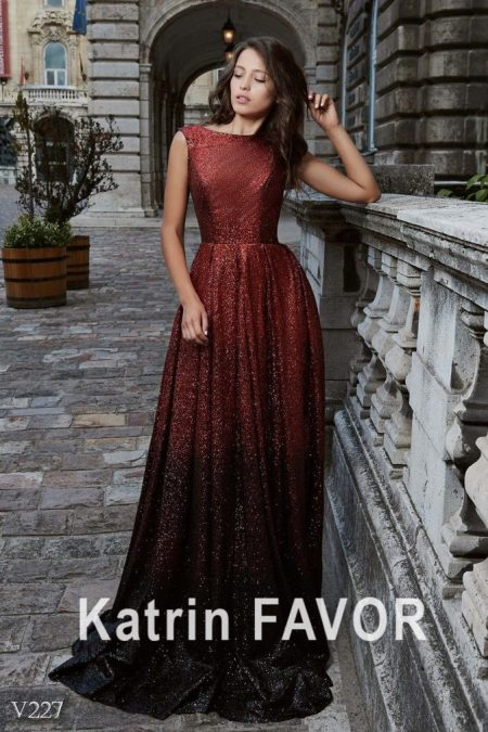 Red Burgundy Ombre Sequins Modest Prom Dress