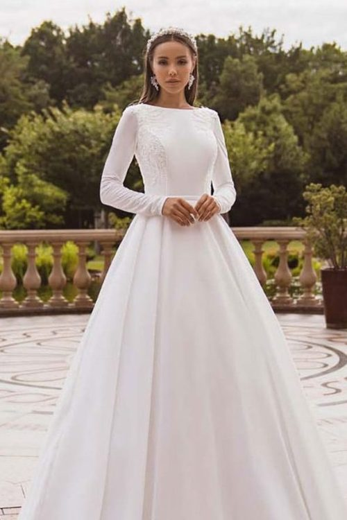 Satin Taffeta Modest Wedding Dress Beaded Applique