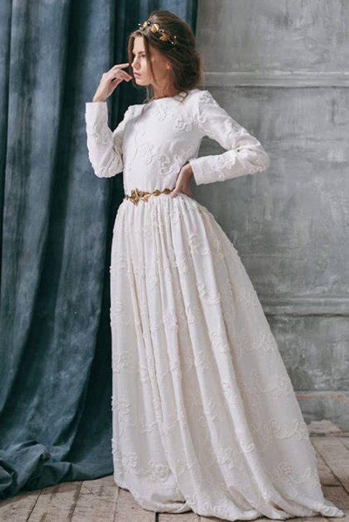 Side View Boho Ivory Linen Tznius Modest Wedding Dress