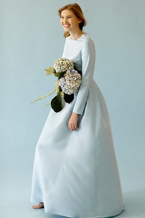 Simple Light Blue Tznius Wedding Dress