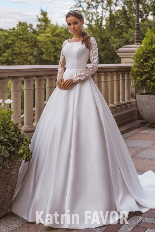 White Taffeta Wedding Dress Beaded Lace Sleeves