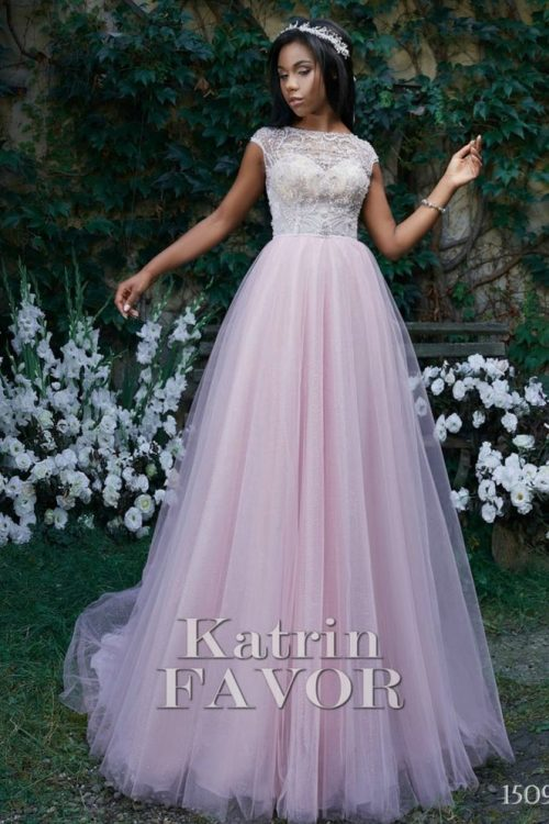 Beaded Lace Pale Pink Modest Prom Dress