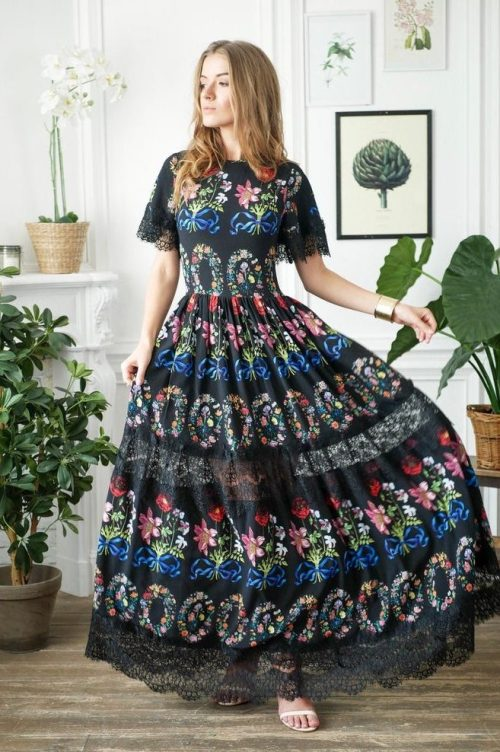 Black Floral Long Modest Prom Dress Sleeves