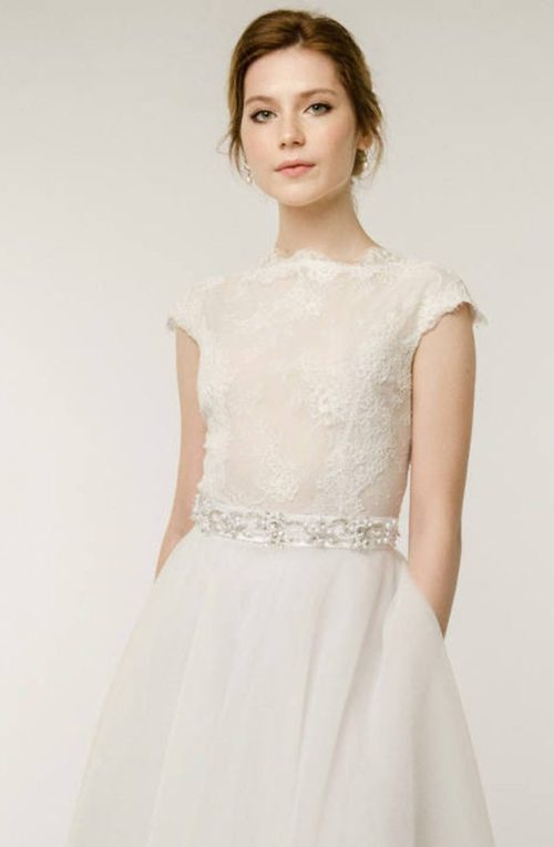 Close Up Ivory Tea Length Lace Bodice Modest Wedding Dress Cap Sleeves