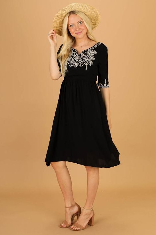 Latterday Bride Black Boho Casual Modest Dress Sleeves