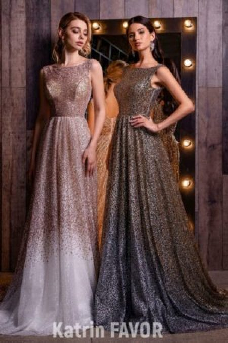 Sequin Ombre Modest Prom Dress Boatneck