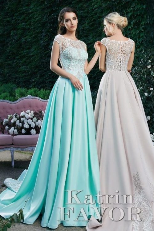 Aqua Beige Satin Skirt Lace Bodice Modest Prom Dress Cap Sleeves