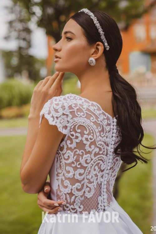 Back View Close Up White Lace Satin Modest Wedding Dress Cap Sleeves Pockets