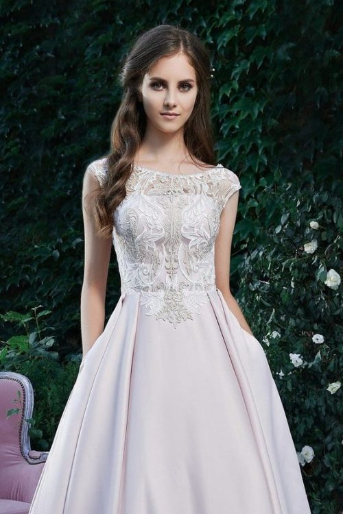 Close Up Light Pink Satin Skirt Lace Bodice Modest Prom Dress Cap Sleeves
