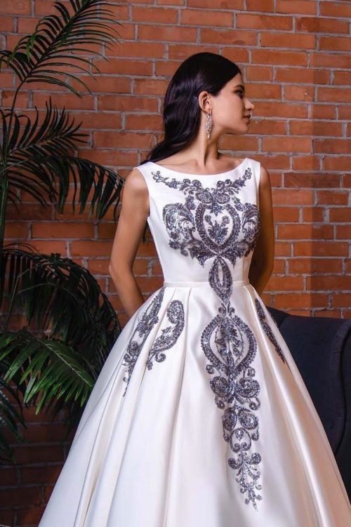 Close Up Sequined Applique Off White Satin Modest Formal Dress Full Skirt