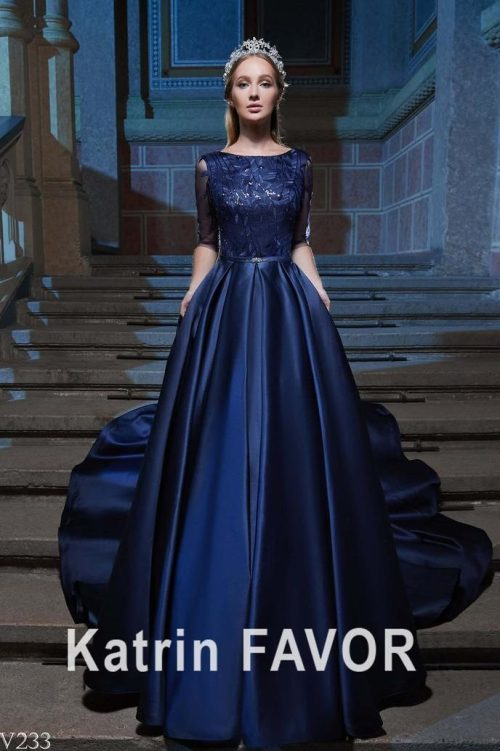 Dark Blue Satin Modest Prom Dress Half Sleeves