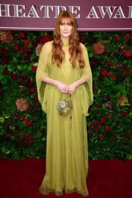 Florence Welch 2019 Evening Standard Theatre Awards Wearing Stunning Pale Green Gucci Dress London's Coliseum