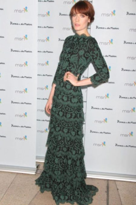 Florence Welch Wearing Green Lace Tadashi Shoji Dress Florence + The Machine CEREMONIALS Concert Tour After Party 2012