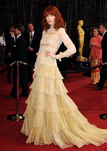 Florence Welch Wearing Layered, Chiffon Maxi Dress by Valentino Academy Awards February 2011.
