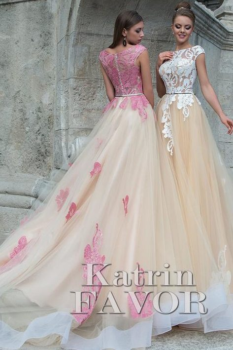 Lace Applique Ballgown Skirt Modest Prom Dress Cap Sleeves