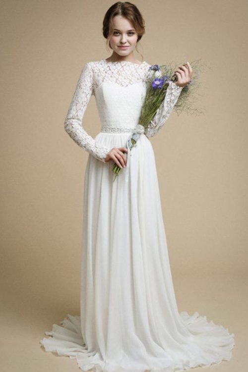 Lace Chiffon Long Sleeve Modest Light Ivory Wedding Dress Floral Bouquet