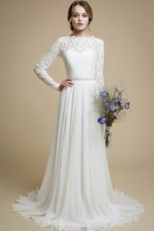 Lace Chiffon Long Sleeve Modest Light Ivory Wedding Dress