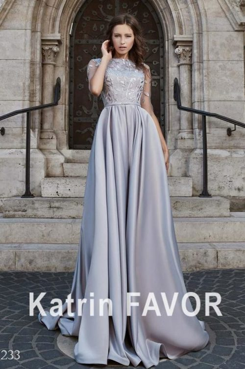 Light Grey Satin Modest Prom Dress Half Sleeves