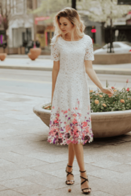 DM Fashion White Lace Dress with Painted Flowers