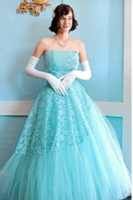 1950's Strapless Robin's Egg Blue Evening Gown