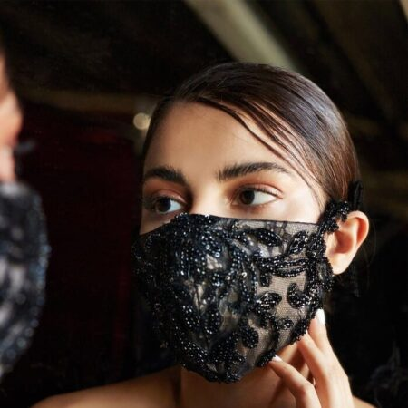Black Beaded Couture Face Mask