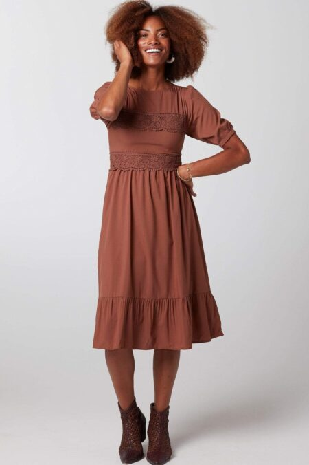 Downeast Rust Modest Lace A Line Dress Half Sleeves