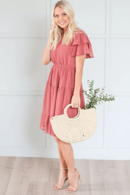 Dusty Rose Mikarose Modest Dress Ruffles