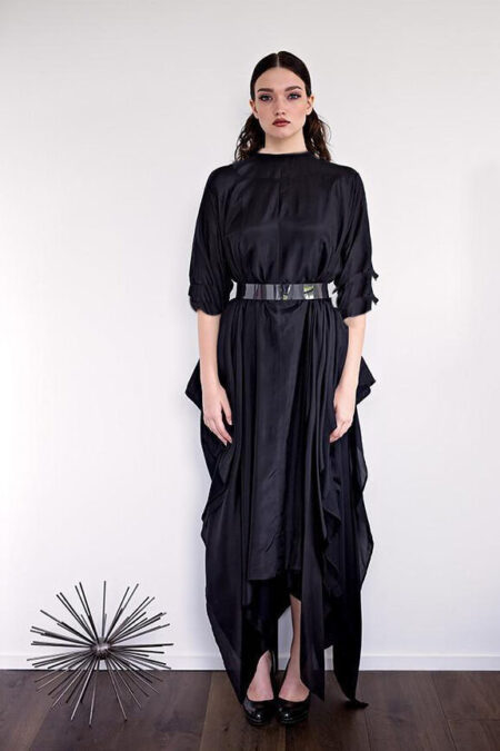 Modestiq Black Silk Flowy Modest Maxi Dress