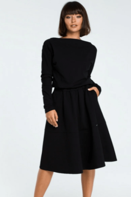 Modli Black Modest Midi Dress Pleated Skirt Pockets