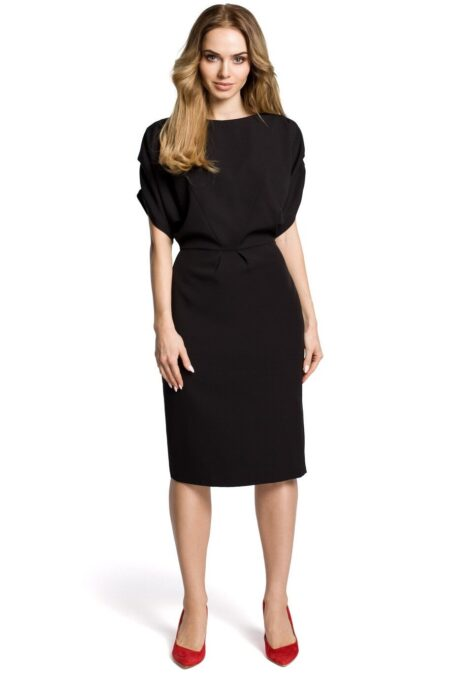 Modli Modest Kimono Sleeve Black Midi Dress